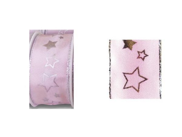 Geschenkband rosa mit Silbersterne 40mmx2m