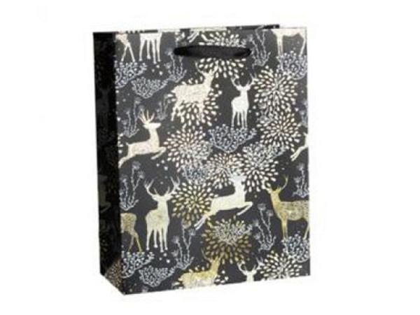 Geschenksack Stewo Kalifa Ilana 16x12x18cm, schwarz,Sternen