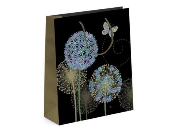 Geschenksack Bug Art Butterfly Flower Lge 26x26x13,5cm, schwarz/gold Tragtasche