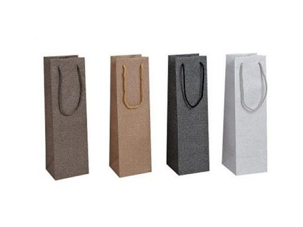 Flaschentasche Glitzer 10x36cm, erhältlich in gold, silber, schwarz und braun beglimmert