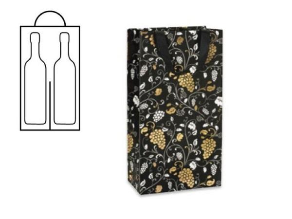 Flaschentasche Stewo Ada schwarz Doppeltasche 18x10,5x36cm, bietet Platz für 2 Weinflaschen, bedruck