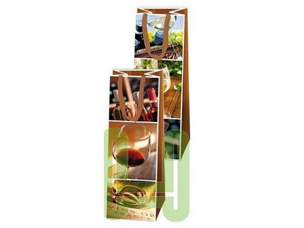 Flaschentasche Hartung Wein 38x11x10cm, Flaschentasche bedruckt mit drei Bildern von Wein-Impression
