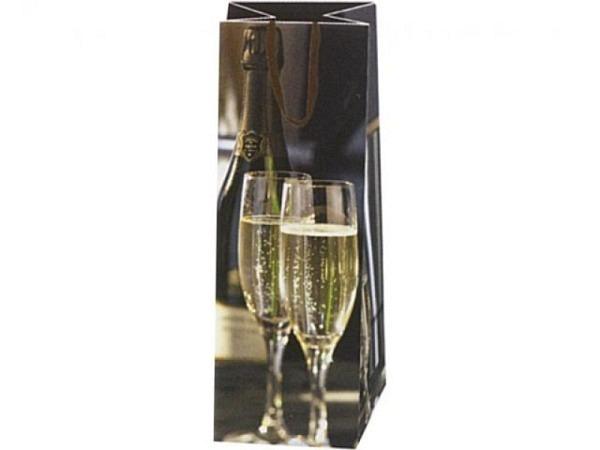 Flaschentasche Hartung Champagnergläser 38x11x10cm, Flaschentasche bedruckt mit zwei Champagnergläse
