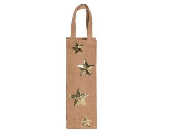 Flaschentasche Artebene Jute Sterne Pailletten 12x35x8cm