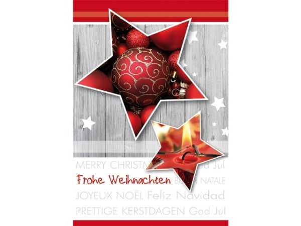 Geschenksanhänger Borer Weihnachtssterne rot 4er Set