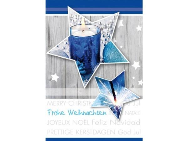 Geschenksanhänger Borer Weihnachtssterne blau 4er Set