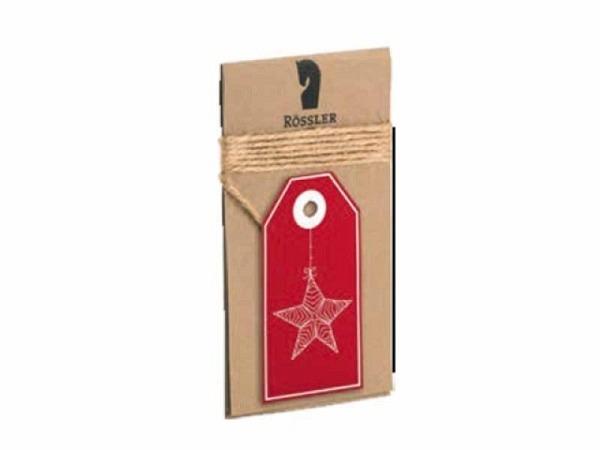 Geschenksanhänger Rössler Weihnachtszauber rot mit Stern-Motiv