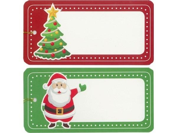 Geschenksanhänger ABC Weihnachtsmann und Baum 6er Set 10x5cm