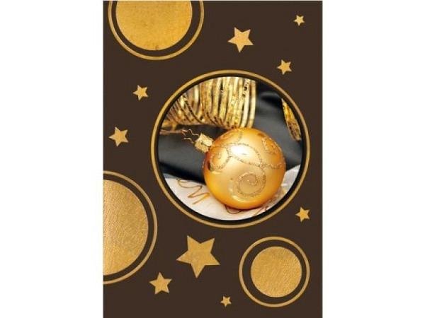 Geschenksanhänger Borer 2er Set Goldene Weihnachtskugel, 5,5x8cm, brauner Hintergrund mit goldenen E