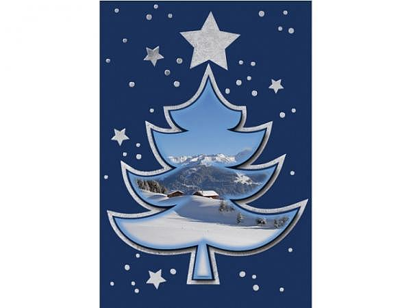 Geschenksanhänger Borer 2er Set Wintertanne 5,5x8cm, blauer Hintergrund mit 3D Tanne mit einem Foto