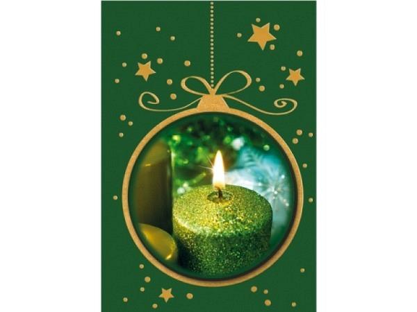 Geschenksanhänger Borer 2er Set Grüne Kerze, 5,5x8cm, grüner Hintergrund mit brennender grüner Kerze