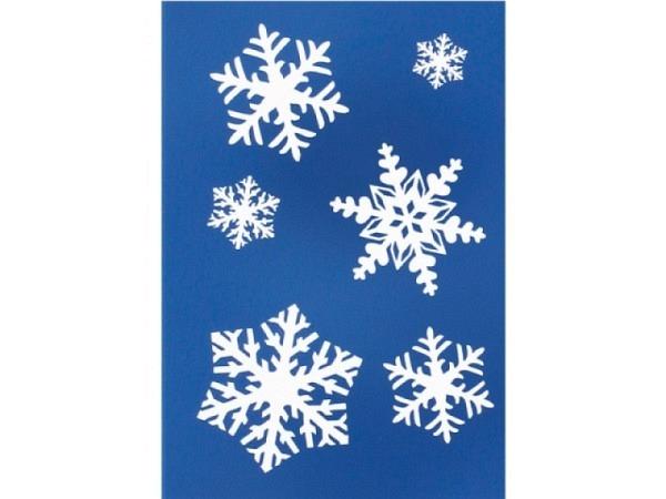 Geschenksanhänger Borer 3er Set Schneesterne 5,5x8cm, blau-schimmernder Hintergrund weissen Schneest
