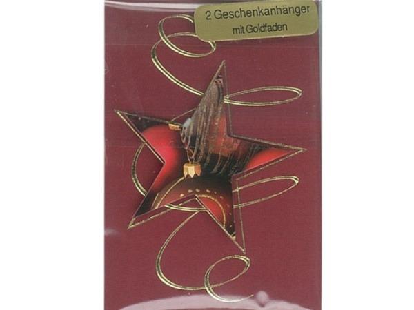 Geschenksanhänger 2er Set, Stern in dunkelrot auf rote Karte