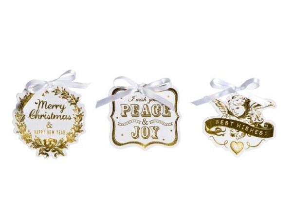 Geschenksanhänger Stewo Belle weiss goldene Folienprägung