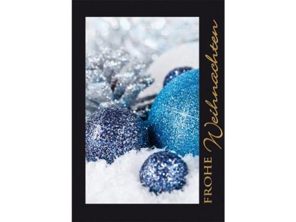 Geschenksanhänger Borer blaue glitzerne Weihnachtskugeln