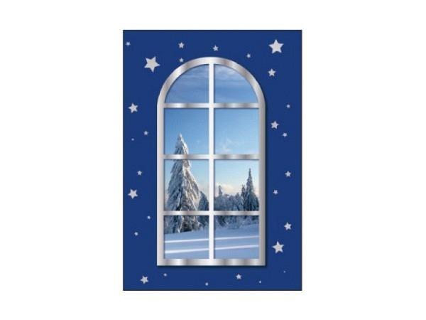 Geschenksanhänger Borer 3er Set Fenster mit Tanne 5,5x8cm, blaue Karte mit einem Fenster im Hintergr