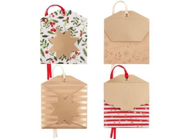 Geschenksanhänger Borer 4er Set Weihnachtsbaum 6,5x6,5cm, grüne Karte bedruckt