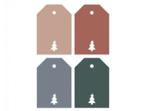 Geschenksanhänger Borer 4er Set Weihnachtskugel 6,5x6,5cm, grüne Karte bedruckt