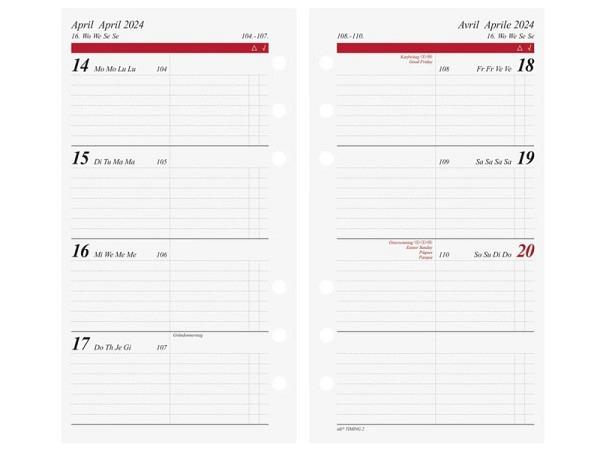 Einlage Ide Timing 2 Wochenkalendarium 7 Tage auf 2 Seiten
