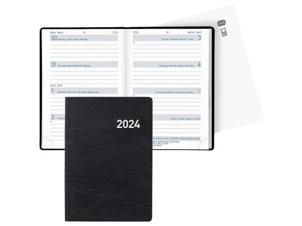 Agenda Biella Mittelformat schwarz, 7 Tage auf 2 Seiten