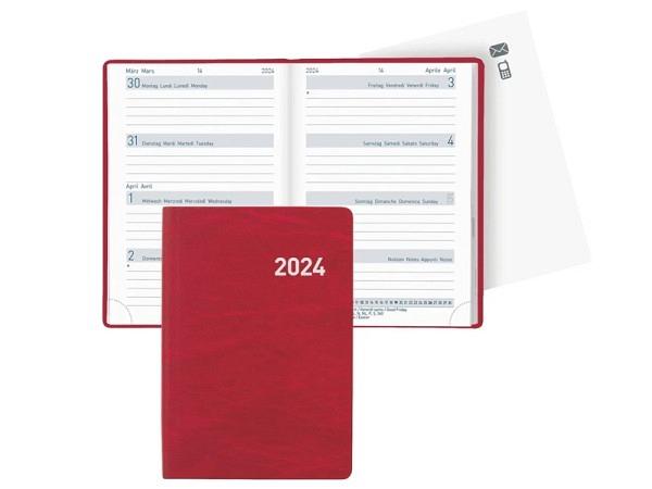 Agenda Biella Mittelformat rot, 7 Tage auf 2 Seiten