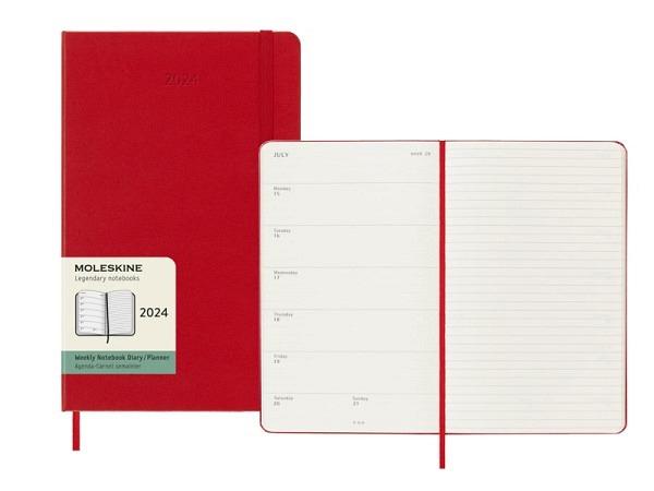 Agenda Moleskine Large 7 Tage auf 1 Seite scharlachrot, Hardcover