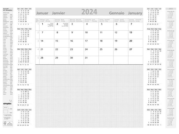 Schreibunterlage Simplex A2 59,4x42ccm 1 Monat auf 1 Seite