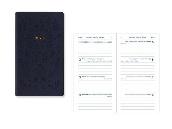 Agenda Letts Blossom Medium Pocket Yellow 7 Tage auf 2 Seiten