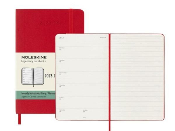 Agenda Moleskine Sommer Softcover Pocket 7 Tage auf 1 Seite A6 rot