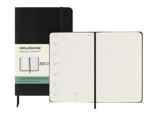 Agenda Moleskine Sommer Softcover Pocket 7 Tage auf 1 Seite A6 schwarz