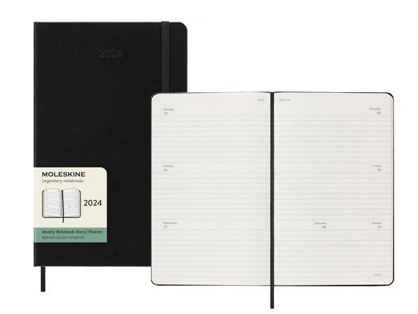 Agenda Moleskine Large 7 Tage auf 2 Seiten horizontal schwarz, Hardc..