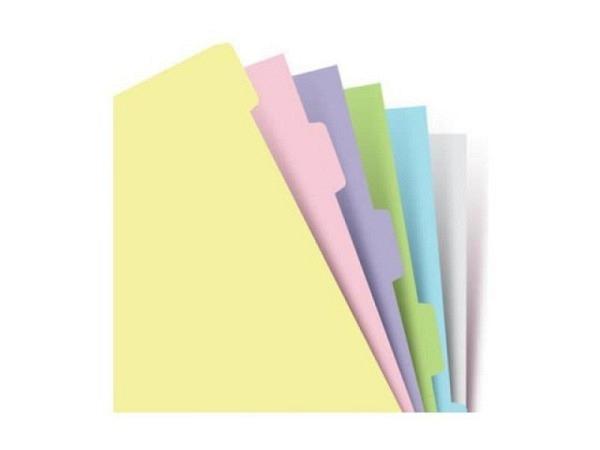 Einlage Filofax A5 Size Notizpapier Pastell 6er Sachregister blanko