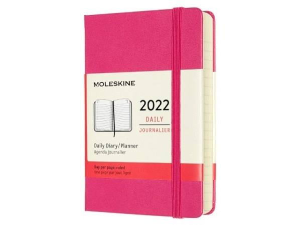 Agenda Moleskine Hardcover Pocket 1 Tag auf 1 Seite Dunkelrosa