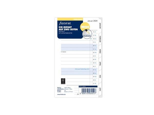 Einlage Filofax Personal Monatsplaner ein Monat auf zwei Seiten