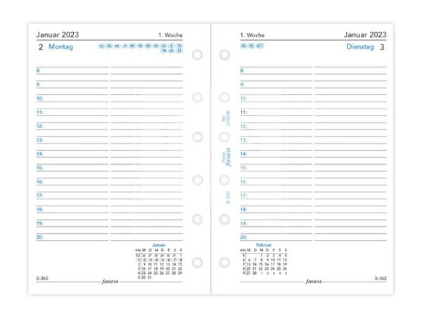 Einlage Filofax Pocket Kalendarium 1Tag auf 1Seite Deutsch