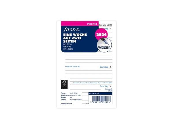 Einlage Filofax Pocket Kalendarium 7Tage auf 2Seiten deutsch liniert