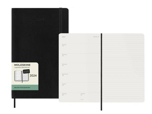 Agenda Moleskine Large 7 Tage auf 1 Seite vertikal schwarz, Softcover