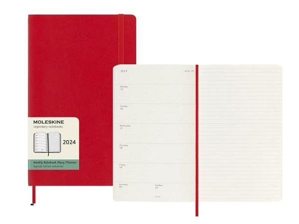 Agenda Moleskine Large 7 Tage auf 1 Seite, rot Soft