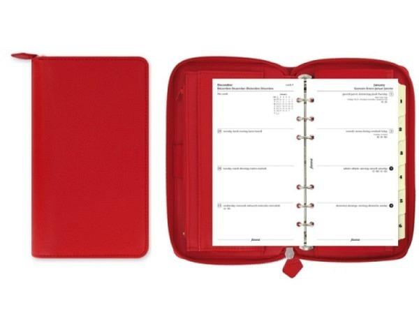 Ringbuch Filofax Personal Compact Saffiano Zip poppy