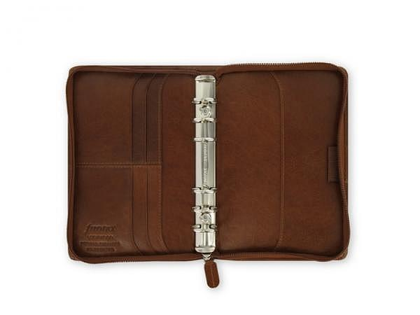 Ringbuch Filofax Personal Lockwood Zip cognac