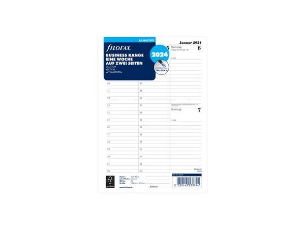 Einlage Filofax A5 Size Kalendarium 7 Tage auf 2 Seiten