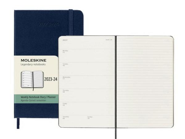 Agenda Moleskine Sommer Hardcover Pocket 7 Tage auf 1 Seite A6 saphir