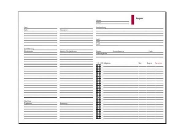 Einlage Timesystem A5 Projekt-Liste, 6er Lochung rund