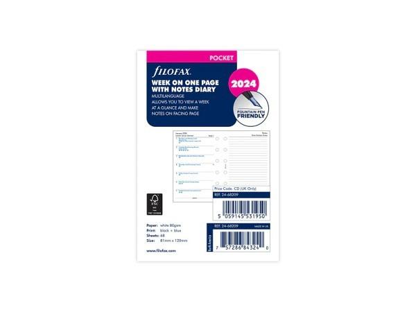 Einlage Filofax Pocket Kalendarium 7Tage auf 1Seite mehrsprachig