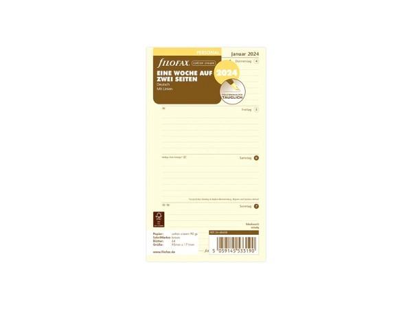 Einlage Filofax Personal Kalendarium 7Tage auf 2Seiten liniert