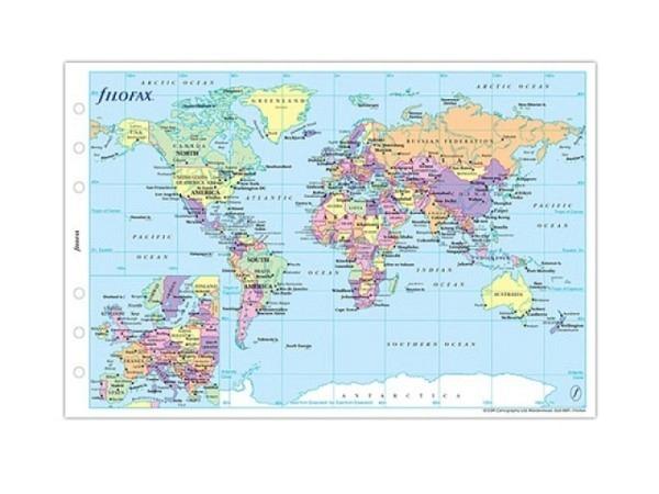 Einlage Filofax Personal Weltkarte Leporello Staatenübers.