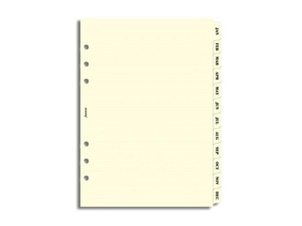 Einlage Filofax A5 Size Register Jan-Dez crème marmoriert