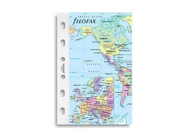 Einlage Filofax Pocket Weltkarte mit Zeitzonen, 6fach