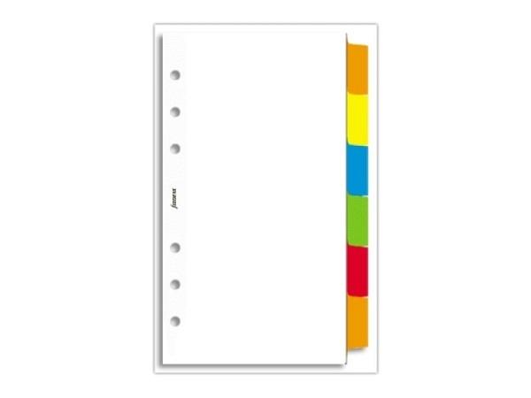 Einlage Filofax Personal Register 1-6 blanko weiss farb Tabs