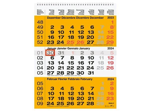 Wandplaner Biella 3-Monatskalender gelb-weiss